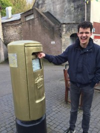 James pretending to post a letter